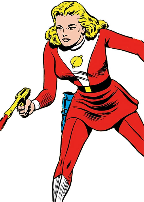 Saturn Girl of the Legion of Super-Heroes (Silver Age DC Comics) shoots a blaster
