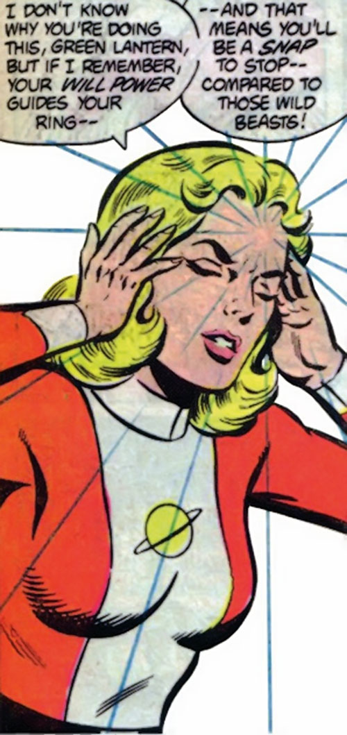 Saturn Girl of the Legion of Super-Heroes (Silver Age DC Comics) using her telepathy