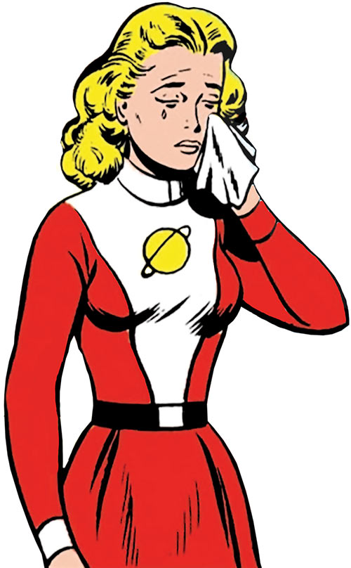 Saturn Girl of the Legion of Super-Heroes (Silver Age DC Comics) crying