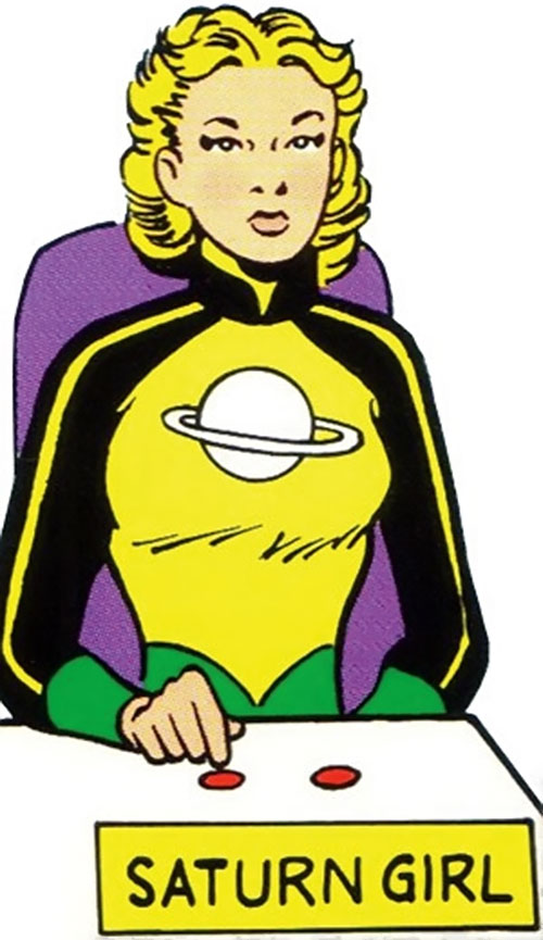 "Saturn Girl of the Legion of Super-Heroes (Silver Age DC Comics) earliest costume, voting ""no"""