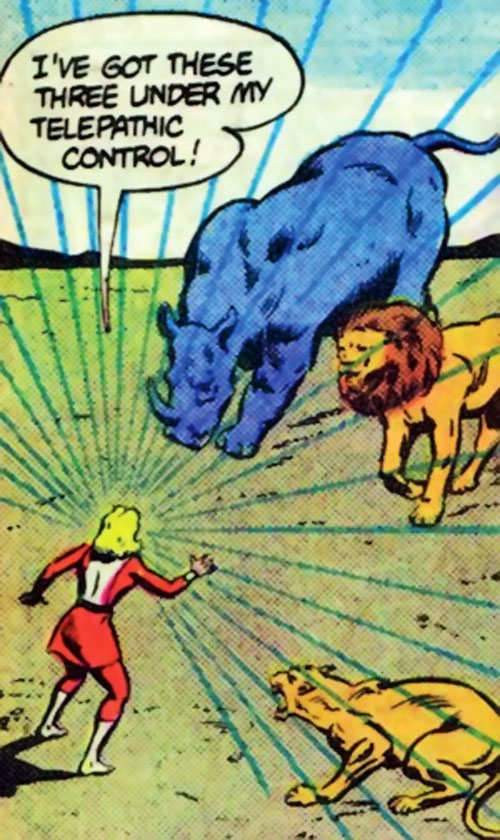 Saturn Girl of the Legion of Super-Heroes (Silver Age DC Comics) vs. zoo animals