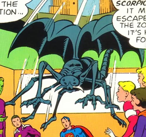 Saturnian scorpion beast leaping amidst Legionnaires (Legion of Super-Heroes) (DC Comics)