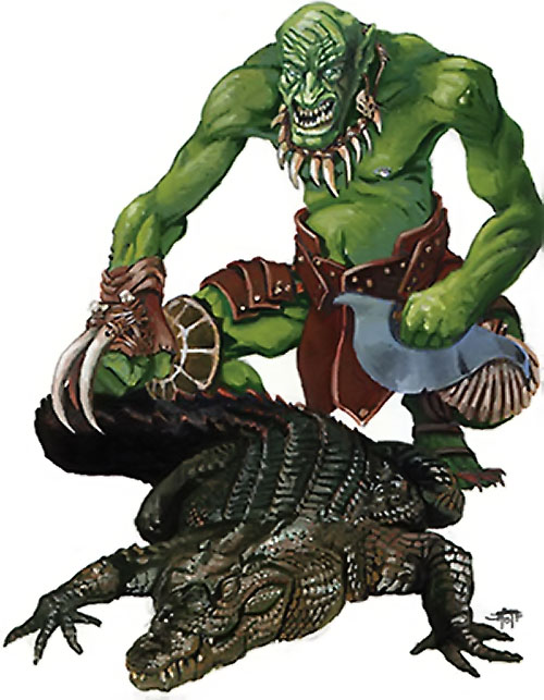 Troll beastlord in Everquest 1, with crocodile warder