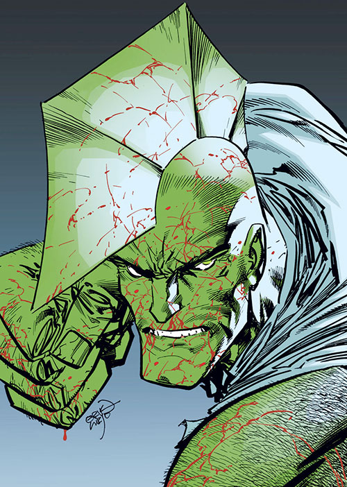 Savage Dragon bloodied portrait by Erik Larsen