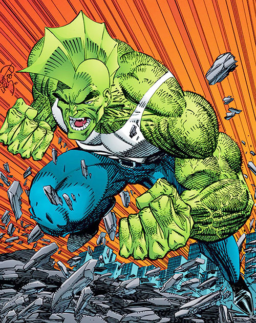 Savage Dragon charging by Erik Larsen