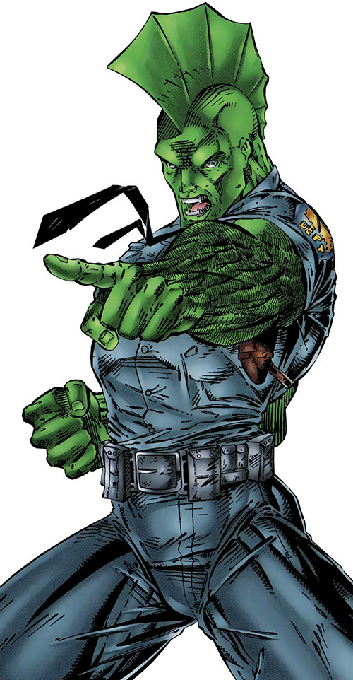 Savage Dragon (early Image Comics) in a police patrol uniform