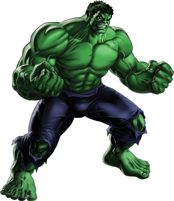 The incredible Hulk over a white background