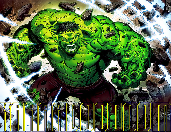 The savage Hulk amidst an energy explosion