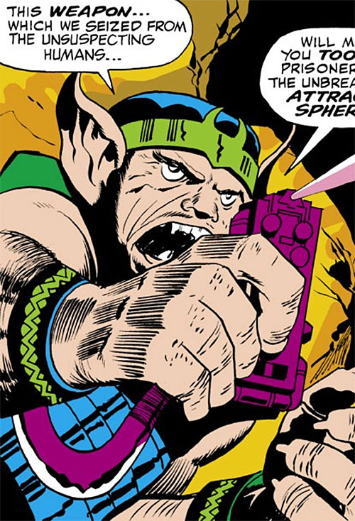 Chief of the Savage Mutates (Thor enemy) (Marvel Comics) with a kirbyesque gadget