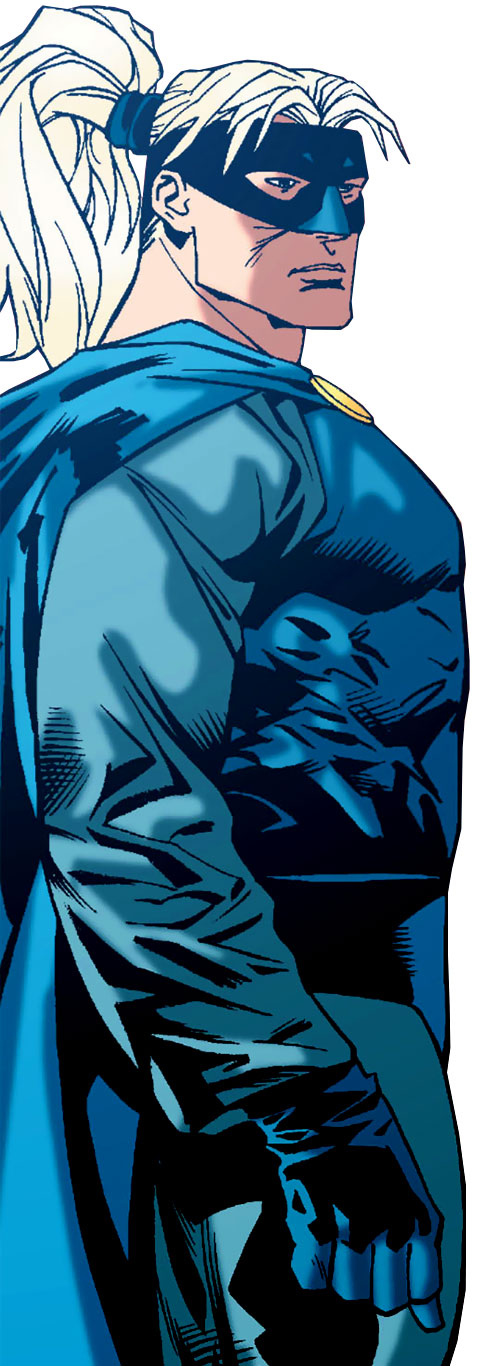 Savant (Birds of Prey character) (DC Comics) with the blue costume and mask