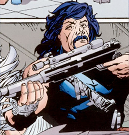 Scalphunter of the Marauders (X-Men enemy) (Marvel Comics) aiming a rifle