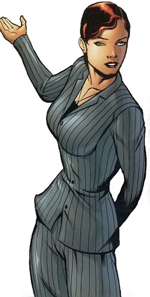 Scandal Savage of the Secret 6 (DC Comics) in a striped business suit