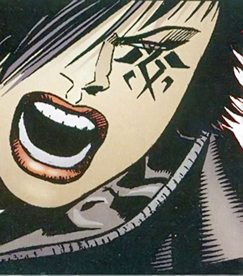 Scandal Savage of the Secret 6 (DC Comics) face closeup with war paint