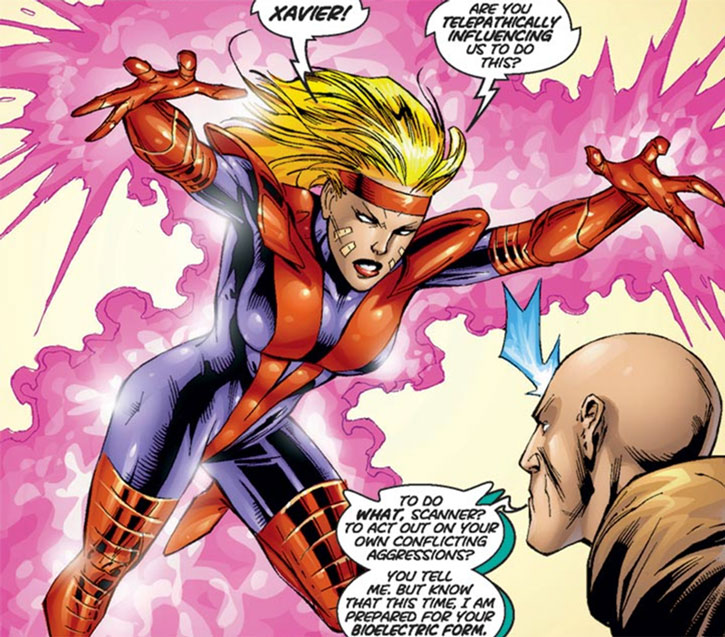 Scanner confronts Professor Xavier in her bioelectric form