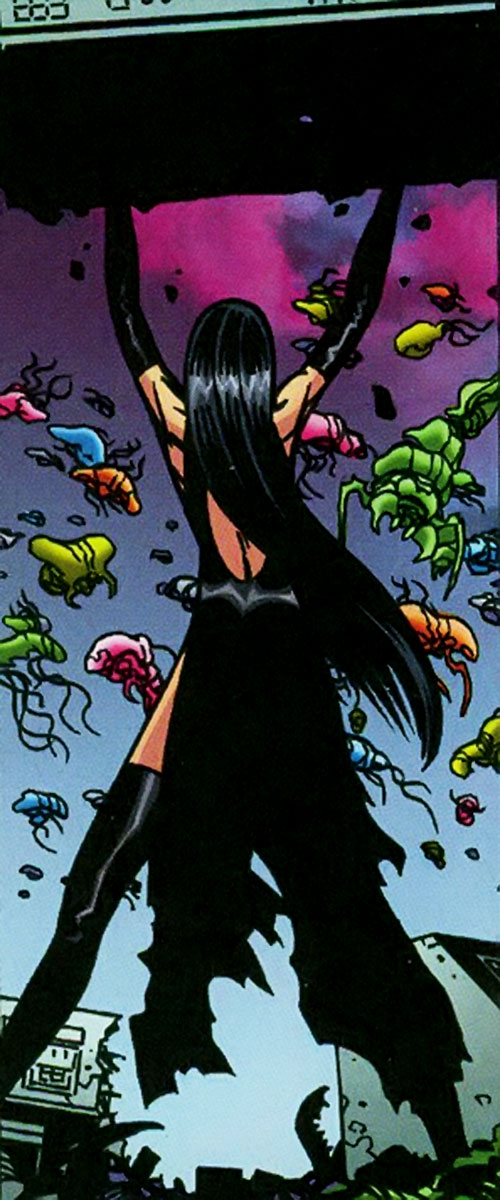 Scarlet Fantastic of the Establishment (Wildstorm Comics) facing alien invaders