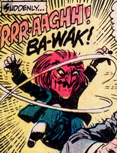 Scarlet Mask (Boris Karloff comics) yelling and jumping