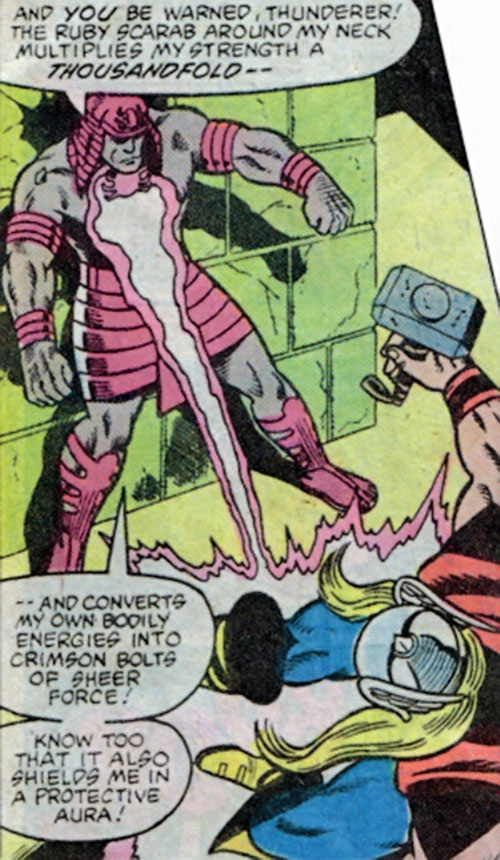 Scarlet Scarab II (Thor character) (Marvel Comics) blasting Thor