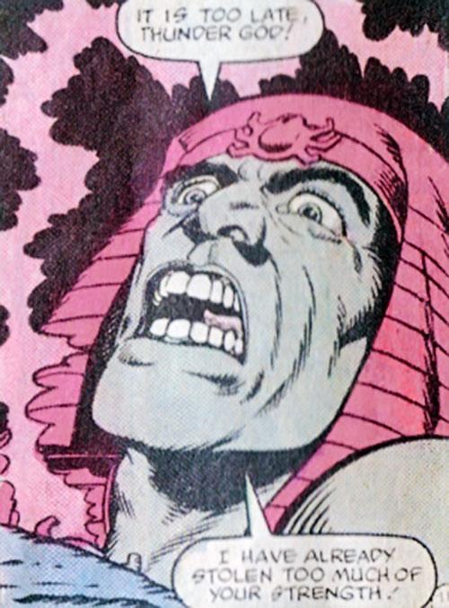 Scarlet Scarab II (Thor character) (Marvel Comics) face closeup
