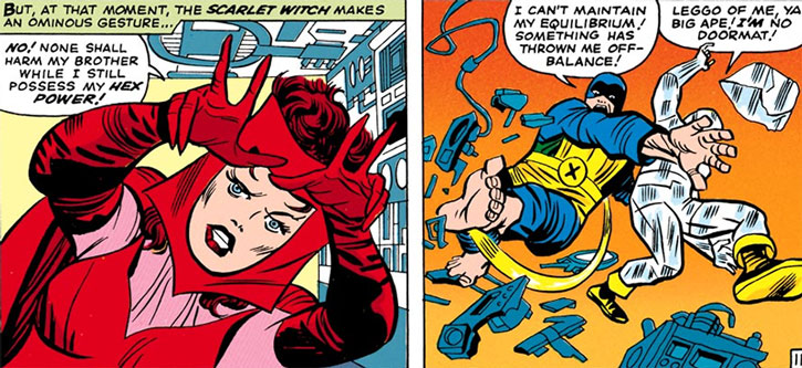 The early Scarlet Witch vs. the early X-Men