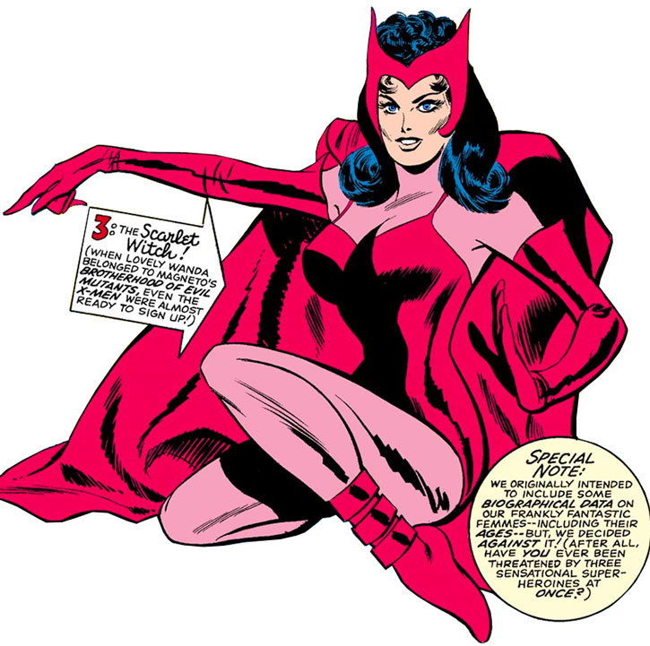 Vintage Scarlet Witch (Wanda Maximoff) over a white background, from a pin-up page