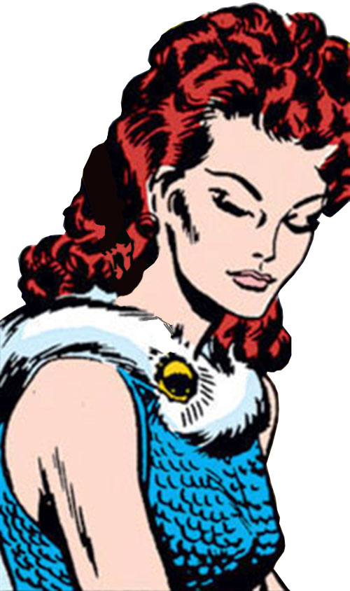 Scarlet Witch of the Avengers (Early version) (Marvel Comics) face closeup in a blue dress