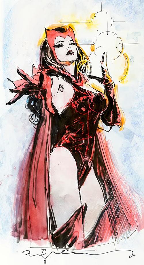 Scarlet Witch (Marvel Comics) colour sketch by Bill Sienkiewicz