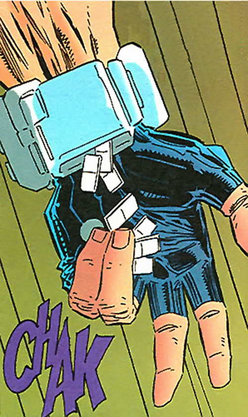 Scarth (Manhunter enemy) (DC Comics)'s chicklet bombs dispenser
