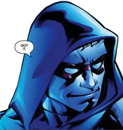 Scatterbrain of the Dynamo 5 (Image Comics) face closeup in blue lighting