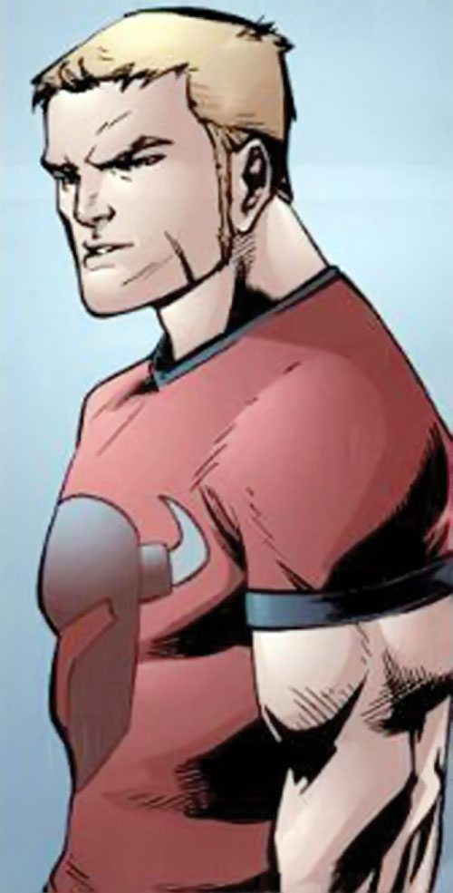Scatterbrain of the Dynamo 5 (Image Comics) in a red T-shirt