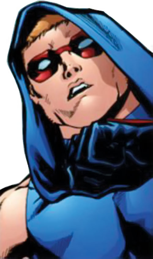 Scatterbrain of the Dynamo 5 (Image Comics) face closeup low angle