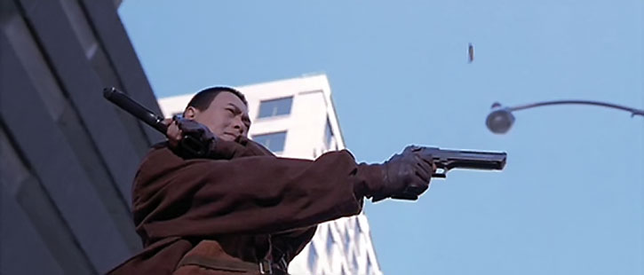 Chow Yun Fat as the Bulletproof Monk dual-wields Desert Eagle pistols