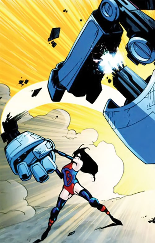 Scrap of Dynamo 5 (Image Comics) bashing a robot with a torn giant robot hand