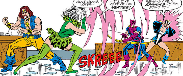 Screaming Mimi and Angar (Marvel Comics) vs. Hawkeye and Mockingbird