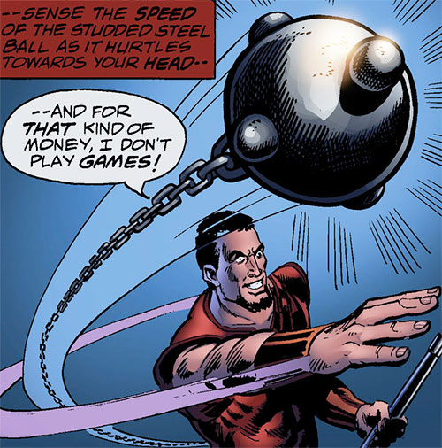 Scythe (Iron Fist enemy) (Marvel Comics) throwing his ball