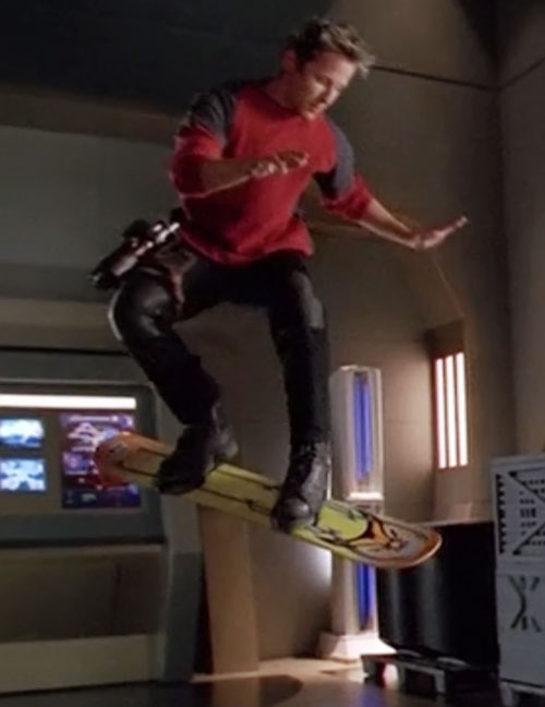 Seamus Harper (Gordon Michael Woolvett in Andromeda) on a hoverboard