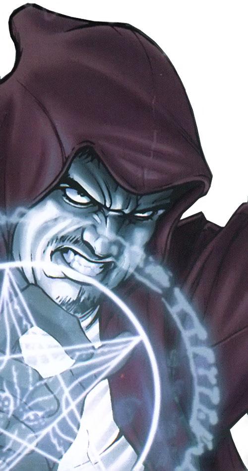 Druid of the Secret Warriors (Marvel Comics) face closeup casting a spell