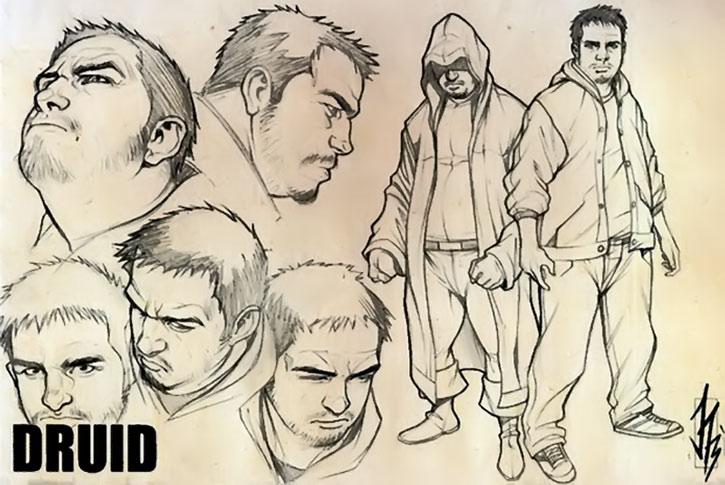 Sebastian Druid character design model sheet