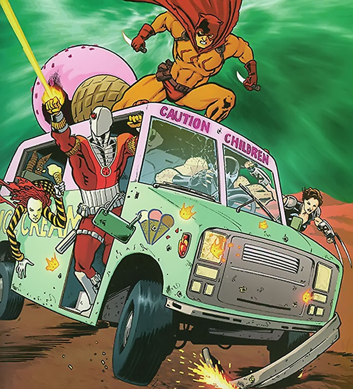 The Secret Six driving their ice cream truck under fire