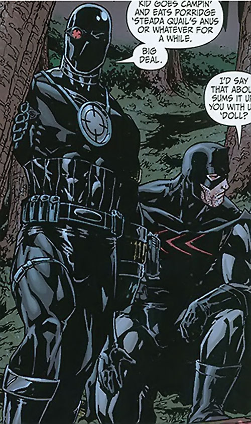 Secret 6 (DC Comics) (Gail Simone version) - Deadshot and Catman in black costumes for night ops