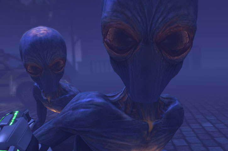 Sectoids (XCom video game) - faces closeup