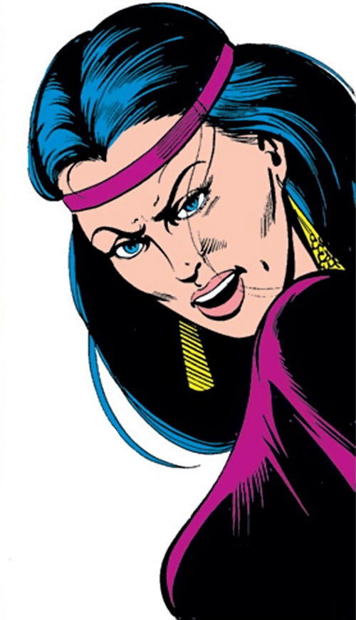 Selene the Black Queen (X-Men & New Mutants enemy) (Hellfire) (Marvel Comics) face closeup with violet headband
