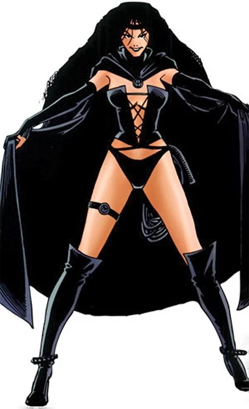 Selene the Black Queen (X-Men & New Mutants enemy) (Hellfire) (Marvel Comics) with a black cape