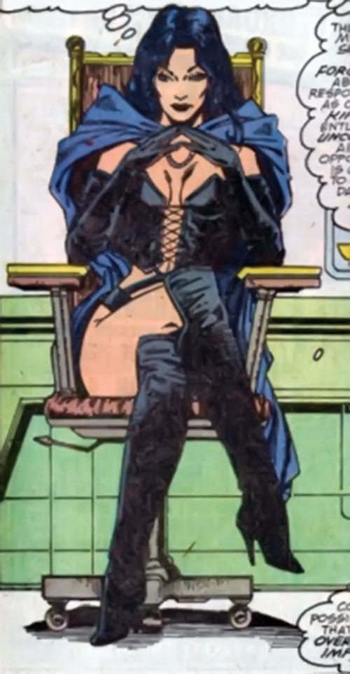 Selene the Black Queen (X-Men & New Mutants enemy) (Hellfire) (Marvel Comics) sitting in an office chair