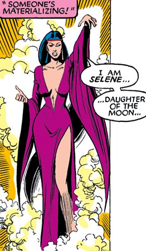 Selene the Black Queen (X-Men & New Mutants enemy) (Hellfire) (Marvel Comics) in a slit violet dress