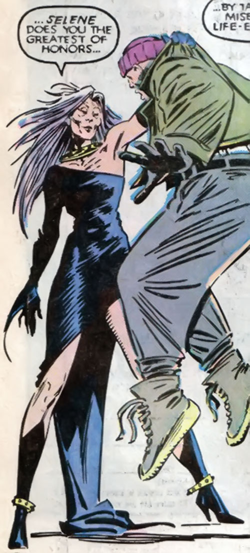 Selene the Black Queen (X-Men & New Mutants enemy) (Hellfire) (Marvel Comics) aged but about to drain some guy