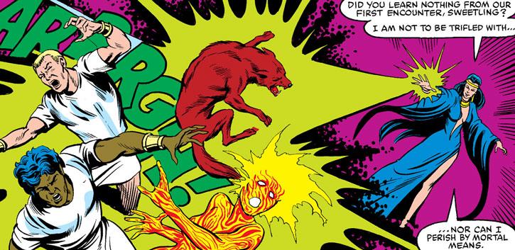 Selene (Black Queen) blasts the New Mutants