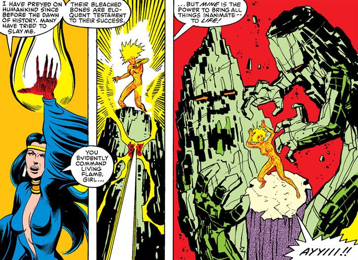 Selene (Black Queen) animates two giant monsters against Magma
