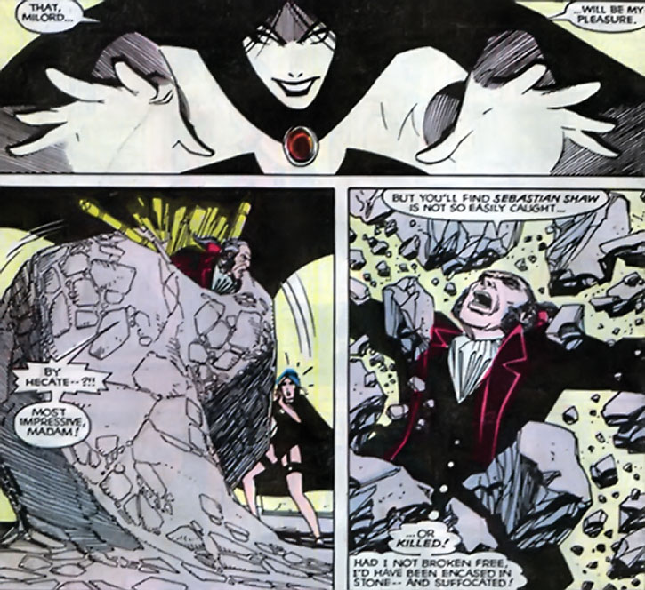 Selene (Black Queen) traps Sebastian Shaw in a stone fist