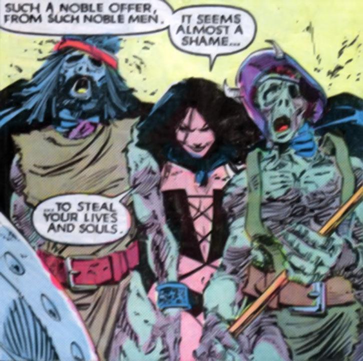Selene (Black Queen) kills two men by draining their life force