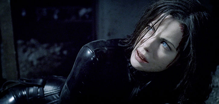 Selene (Kate Beckinsale) after getting knocked down